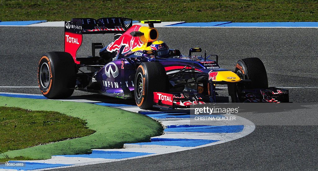 Red Bull's Australian driver Mark Webber takes a curve with his Formula One during the second day of testing at Jerez racetrack, on February 6, 2013 in Jerez de la Frontera.