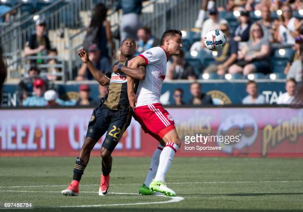 Red Bulls D Aaron Long keeps Union MF Fafa Picault from the ball in the first half during the game between the New York Red Bulls and Philadelphia...