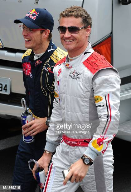 Red Bull's David Coulthard who will compete in his final Formula One race this afternoon seen with Toro Rosso's Sebastien Bourdais prior to the...