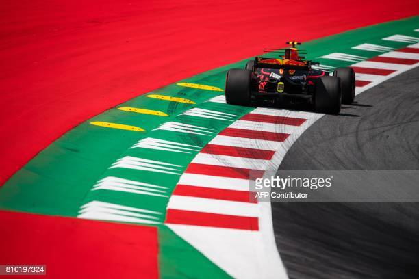 TOPSHOT Red Bull's Dutch driver Max Verstappen drives his car during the first practice session of the Formula One Austria Grand Prix at the Red Bull...