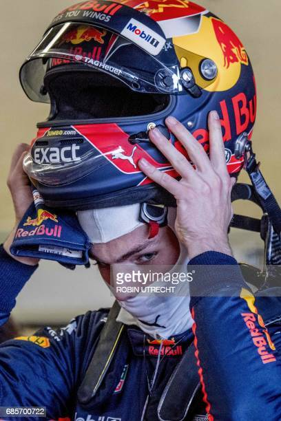 Red Bull's Dutch driver Max Verstappen removes his helmet during the Jumbo Racing Days at the Circuit Park Zandvoort in Zandvoort The Netherlands on...