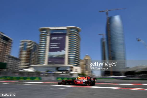 Red Bull's Dutch driver Max Verstappen steers his car during the first practice session of the Formula One Azerbaijan Grand Prix at the Baku City...