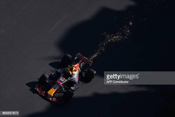 TOPSHOT Red Bull's Dutch driver Max Verstappen steers his car during the qualifying session for the Formula One Azerbaijan Grand Prix at the Baku...