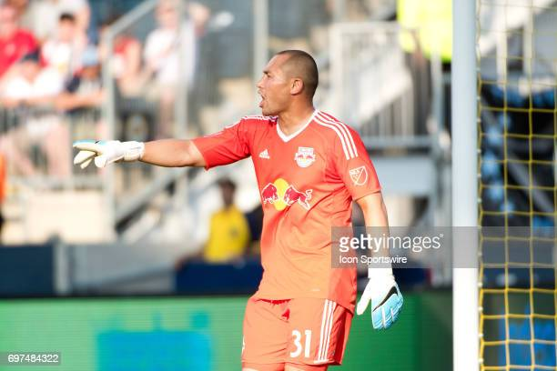 Red Bulls Keeper Luis Robles calls to his teammates in the second half during the game between the New York Red Bulls and Philadelphia Union on June...