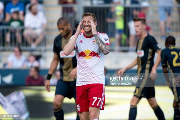 Red Bulls MF Daniel Royer reacts to a missed shot in the first half during the game between the New York Red Bulls and Philadelphia Union on June 18...