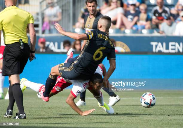 Red Bulls MF Tyler Adams is toppled by Union MF Haris Medunjanin in the first half during the game between the New York Red Bulls and Philadelphia...
