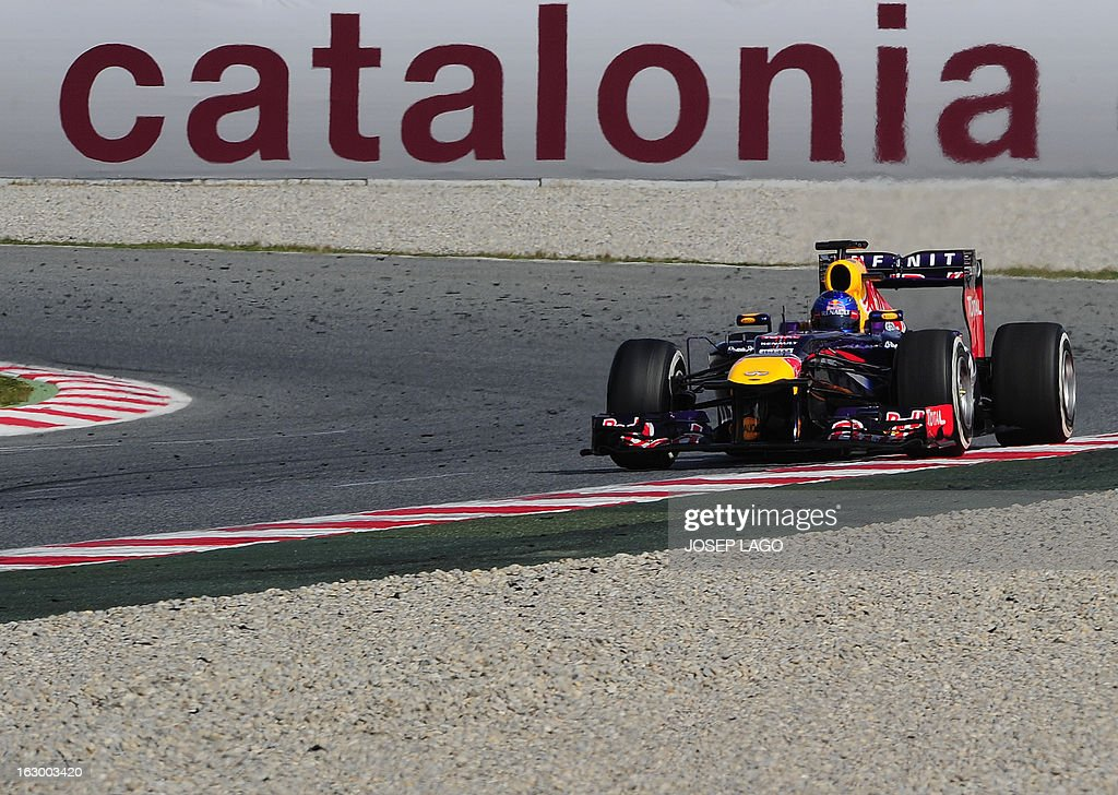 Red Bull's racing German driver Sebastian Vettel drives during the Formula One test days at Catalunya's racetrack in Montmelo, near Barcelona, on March 3, 2013. .