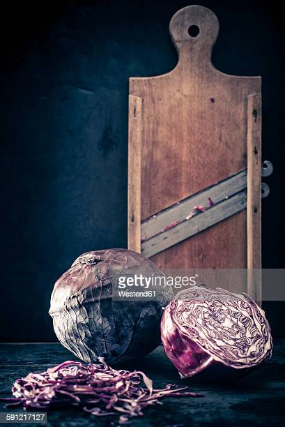 Red cabbage and old wooden grater