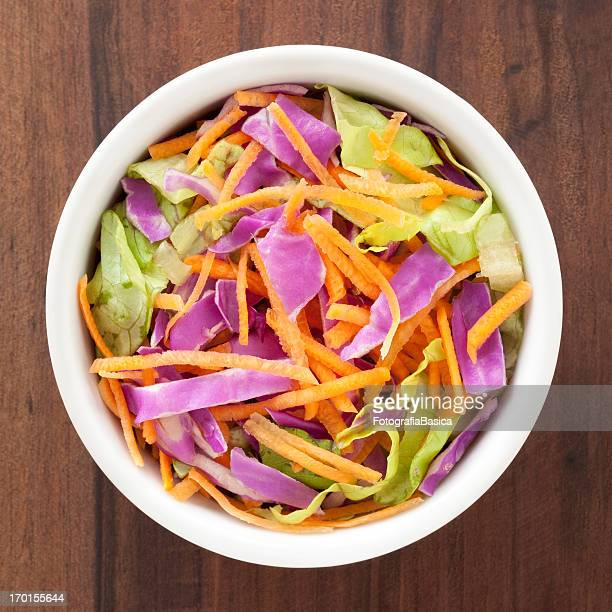 Red cabbage, lettuce and carrot salad