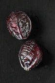 red cabbage on a black background