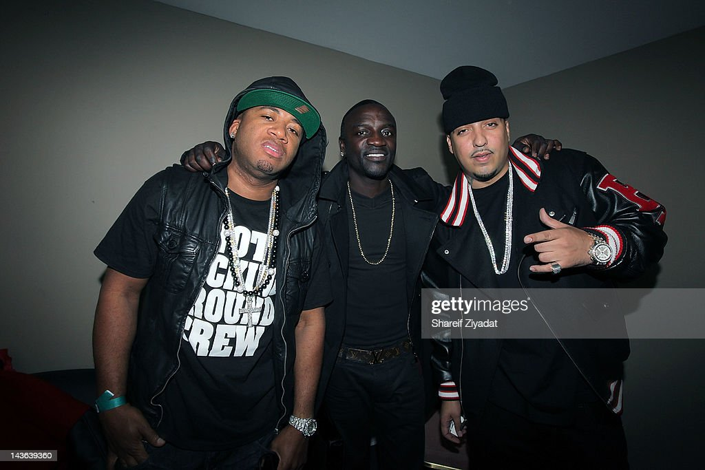 Red Cafe, Akon and French Montana attend the DJ ProStyle Birthday Concert at Hammerstein Ballroom on April 30, 2012 in New York City.