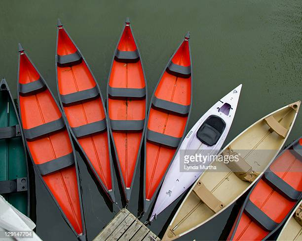Red canoes tied to wharf with dark green water