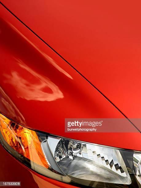 Voiture rouge Aile avant avec lumière, gros plan