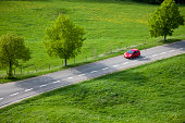 Red Car on Country Road, Spring, Aerial View