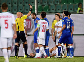 Red card for Daniele De Rossi of Italy during the UEFA EURO 2016 Qualifier match between Italy and Bulgaria on September 6 2015 in Palermo Italy
