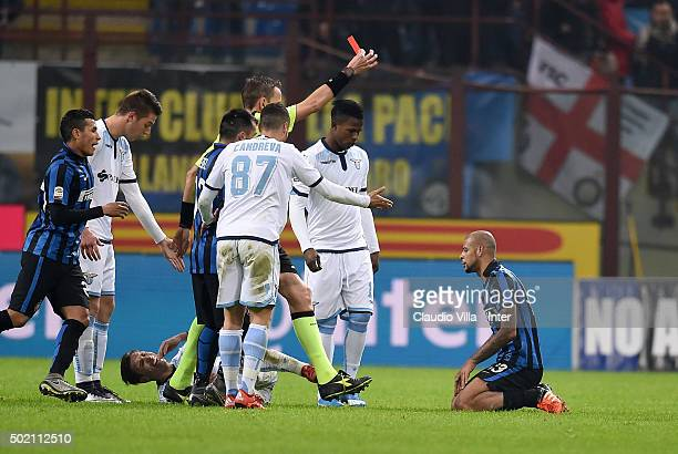 Red card for Felipe Melo during the Serie A match between FC Internazionale Milano and SS Lazio at Stadio Giuseppe Meazza on December 20 2015 in...