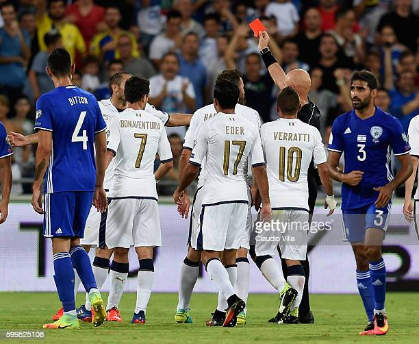 Red card for Giorgio Chiellini of Italy during the FIFA 2018 World Cup Qualifier between Israel and Italy at Itztadion Sammy Ofer on September 5 2016...