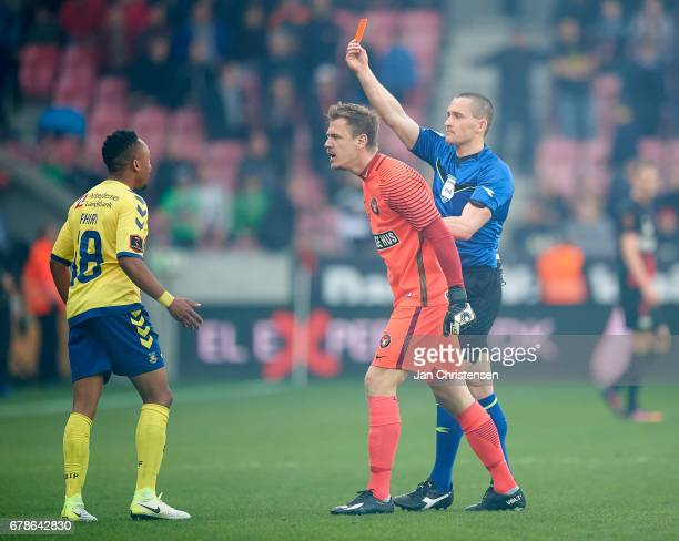 Red card for Lebogang Phiri of Brondby IF during the Danish Cup DBU Pokalen semifinal match between FC Midtjylland and Brondby IF at MCH Arena on May...