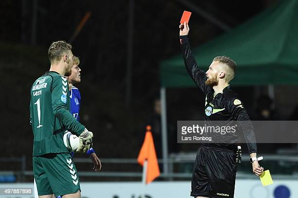 Red card for Mads Gabel Jorgensen of Lyngby Boldklub from Referee Benjamin Leander during the Danish 1th Division Bet25 Liga match between Lyngby...