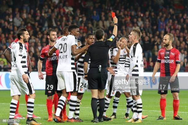 Red card for Wahbi Khazri of Rennes during the Ligue 1 match between EA Guingamp and Stade Rennais at Stade du Roudourou on October 14 2017 in...