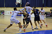 Red card for Yoan Eudaric of Selestat for this foul on Valentin Laplace of Massy during the French Pro D2 playoff semi final first leg match between...