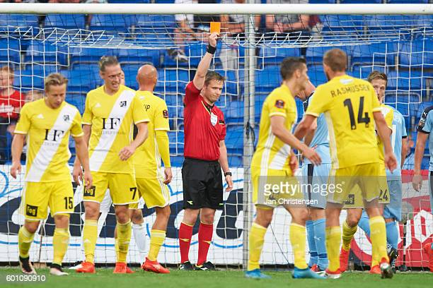 Red card from referee Jens Maee to Mads Fenger of Randers FC during the Danish Alka Superliga match between Randers FC and Lyngby BK at BioNutria...