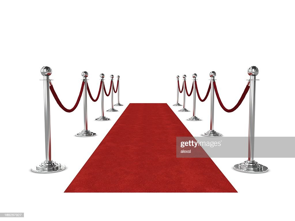 Red carpet and ropes isolated on white background : Stock Photo