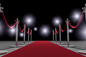 A Hollywood red carpet event with paparazzi cameras flashing with a black background for copy space.  Please see my portfolio for other 3D renders.