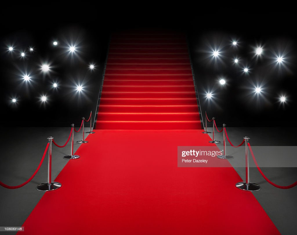 Red carpet event with flash photography : Stock Photo