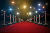 Red carpet for VIP. Flash lights in background. 3D rendered illustration.