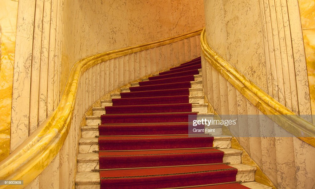 red carpet going upstairs : Stock Photo