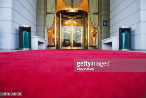 Red Carpet in Front of Hotel : Stock Photo