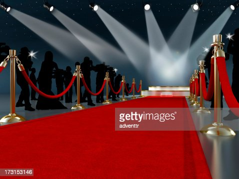 Red carpet leading to the stage