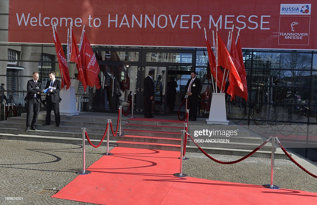 A red carpet leads to the entrance of the Hanover trade fair on April 7, 2013 which features Russia as this year's partner country in Hanover, western Germany. German Chancellor Angela Merkel and Russian President Vladimir Putin are scheduled to open the industrial trade fair in Hanover on April 7, 2013.