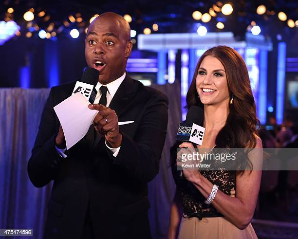 Red Carpet Live Stream hosts Kevin Frazier and Samantha Harris attend the 5th Annual Critics' Choice Television Awards at The Beverly Hilton Hotel on...