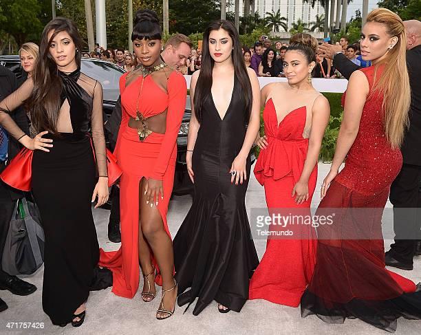 Lauren Jauregui Normani Kordei Dinah Jane Hansen Ally Brooke Hernandez and Camila Cabello of Fifth Harmony arrive at the 2015 Billboard Latin Music...