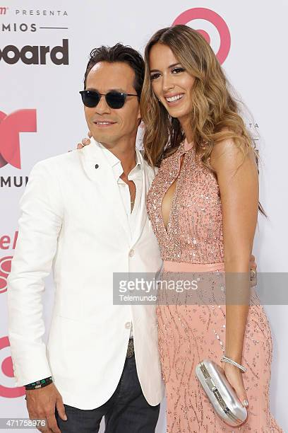 Marc Anthony and Shannon De Lima arrive at the 2015 Billboard Latin Music Awards from Miami Florida at the BankUnited Center University of Miami on...