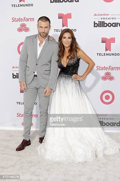 Rafael Amaya and Azucena Cierco arrives at the 2015 Billboard Latin Music Awards from Miami Florida at the BankUnited Center University of Miami on...