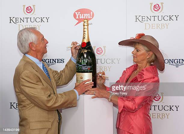 Red Carpet/Celebrity Signing Moment Governor of Kentucky Steve Beshear and his wife Jane Klingner sign a limited edition 6 Liter Moet Chandon...