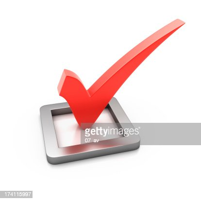 A 3D red check mark on a white background