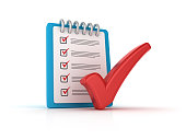 Red Check Mark with CheckList Clipboard - White Background - 3D Rendering