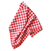 Red checkered clothes isolated.Picnic towel.