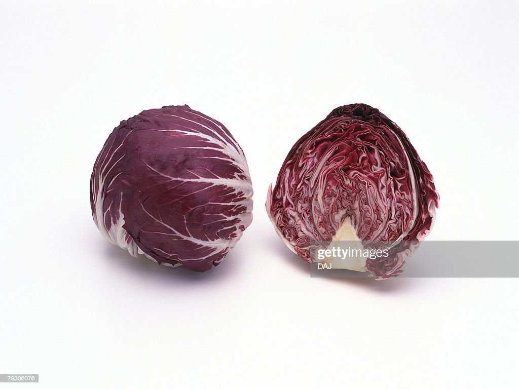Red Chicory, one is cut in half, high angle view : Stock Photo