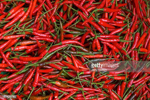 Red chilies for sale at Pak Khlong Talat a huge freshgoods market in the center of Bangkok