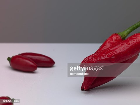 red chilli peppers isolated on white : Stock Photo
