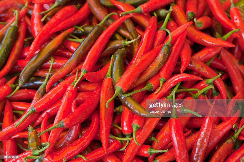 Red chillies,Vietnam : Stock Photo