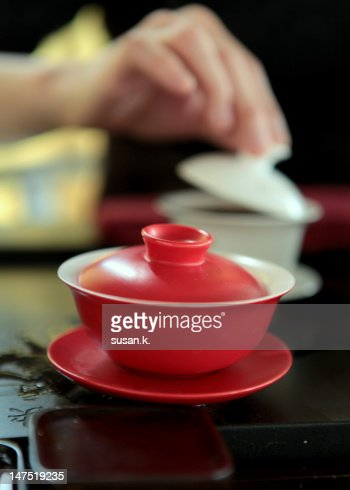 Red Chinese tea cup : Stock Photo