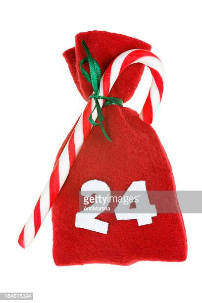 red Christmas bag for advent calendar isolated on white