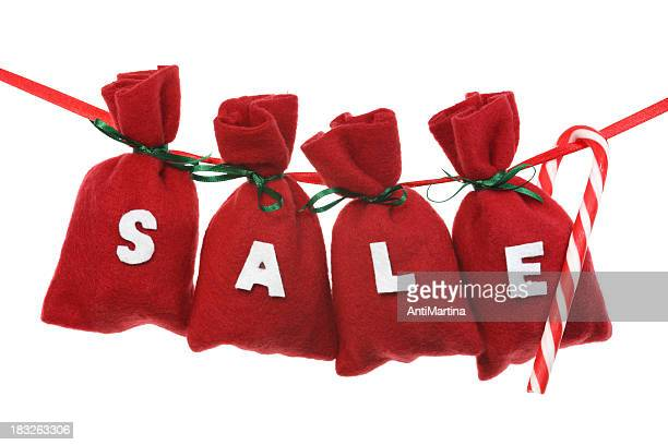 red Christmas bags (sale) on a string