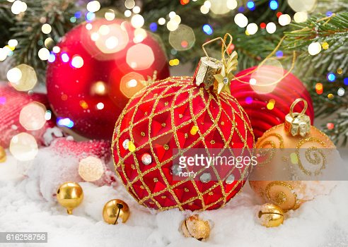 red christmas ball in snow : Stock Photo